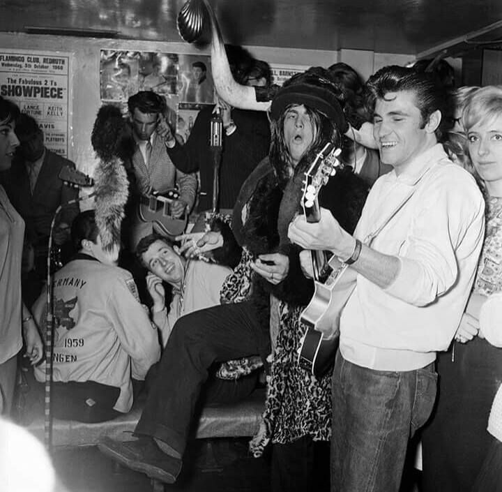 Screaming Lord Sutch performs with Vince Taylor at the 2 I's Coffee Bar, Soho, London, UK, 24th September 1960