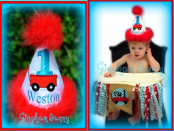 Little Red Wagon First Birthday Hat  Little Red by ginghambunny