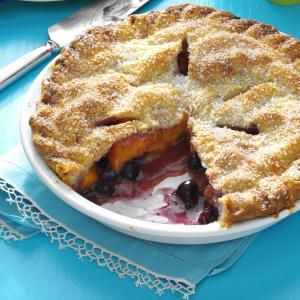 Peach Blueberry Pie Recipe--I used frozen peaches defrosted in the microwave and drained well. I used frozen blueberries, not thawed. I also combined 1 Tbsp sugar and 1/4 tsp cinnamon to make sugar cinnamon.