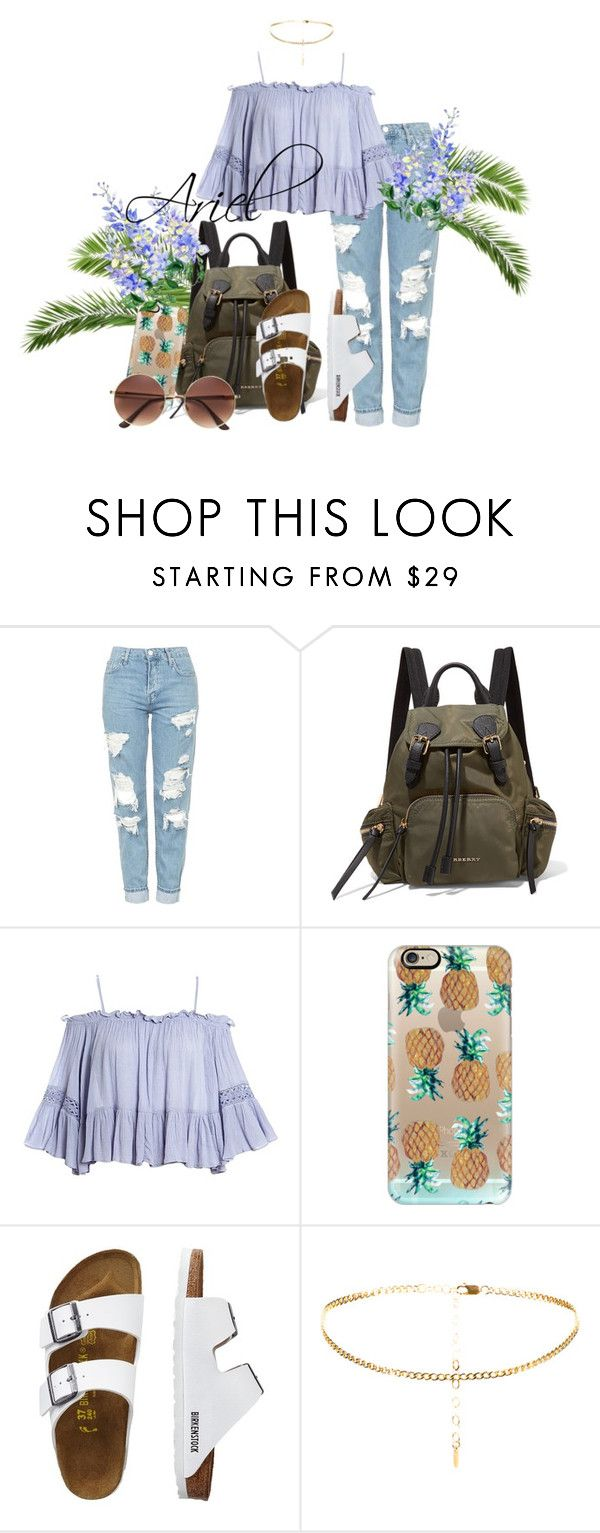 """Ariel"" by grraciie-386 on Polyvore featuring Topshop, Burberry, Sans Souci, Casetify and TravelSmith"
