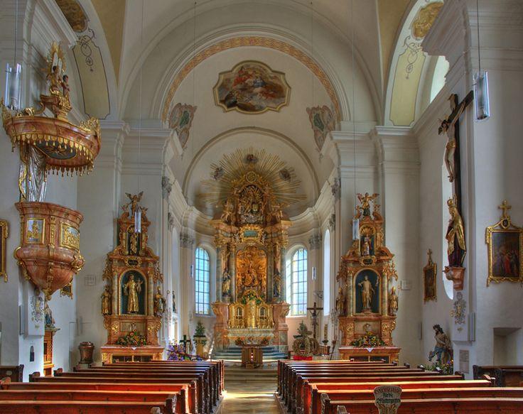 The Immaculate Baroque Interior, Pfarrkirche zu Unserer Lieben Frau Oberaudorf (Oberbayerischen Landkreis Rosenheim), Germany