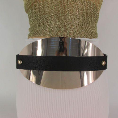 """38.64$  Buy here - http://vihqg.justgood.pw/vig/item.php?t=dpl3bx217 - Nouveau Femme 5.5"""" Très Grand Or Big Metal Plaque Ceinture Hip Taille Haute Noir"""