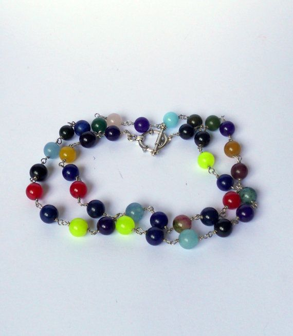 beaded jewellery necklaces  multicolor agate bead necklace