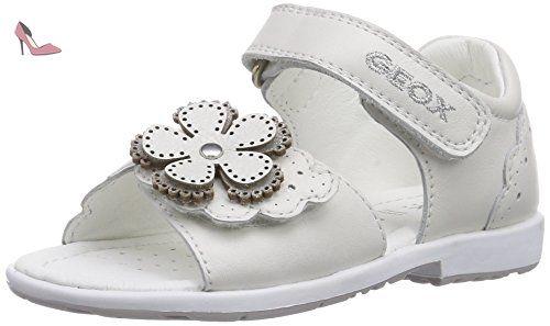 Geox B Kaytan D, Chaussures Marche Bébé Fille, Blanc (White/Silverc0007), 20 EU