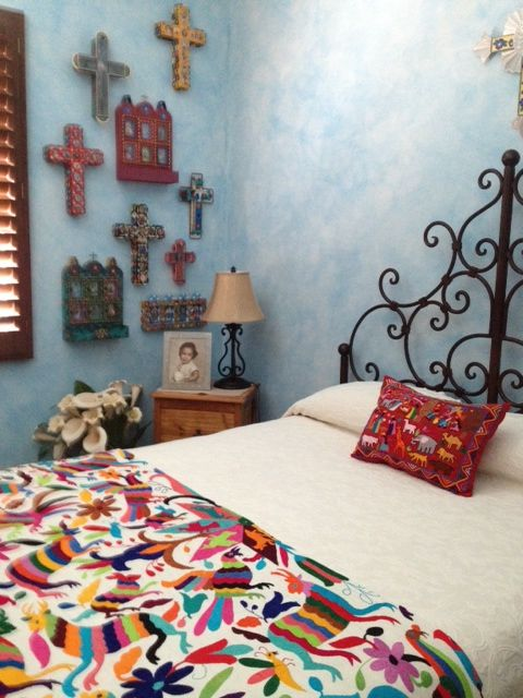 great guest room - mexican style everywhere! I'm painting my walls like this as we speak.....LOVE!!!!