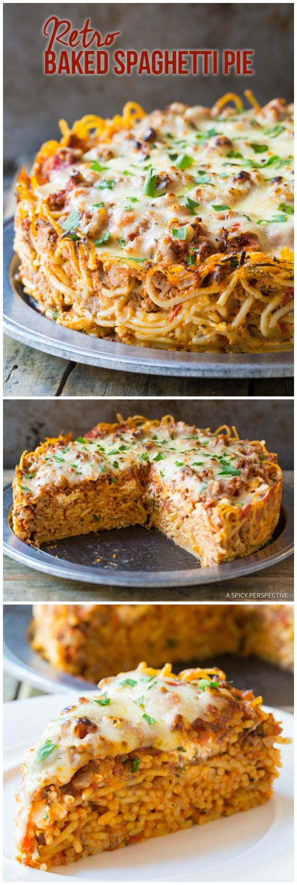 Retro Baked Spaghetti Pie Recipe | ASpicyPerspective.com #retro via @spicyperspectiv
