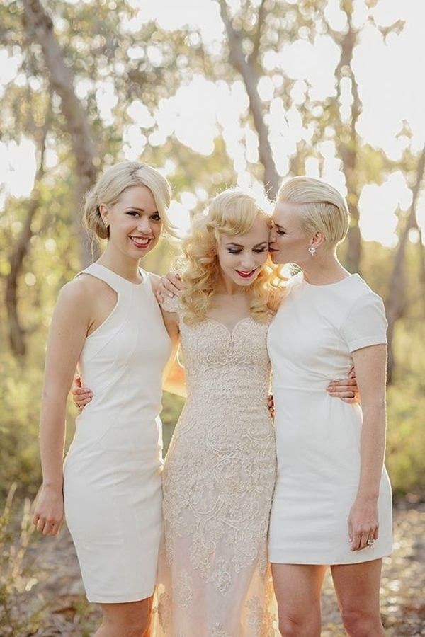 Now Trending: White Bridesmaid Dresses: Wedding Inspiration, All White, White Wedding, White Bridesmaid Dresses, Wedding Ideas, Weddings, White Bridesmaids, Bridesmaids Dresses, Wedding Dress
