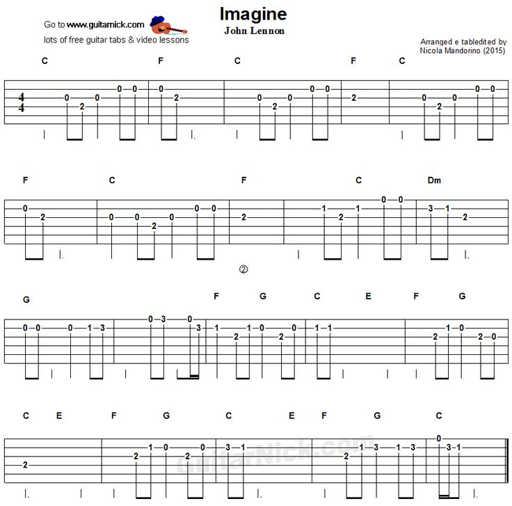 Imagine - easy guitar tablature