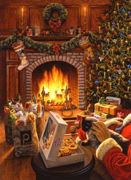 Christmas Cat paintings. David Jermann - Christmas Card