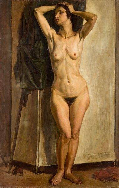 Μόραλης Γιάννης (b.1916-2009)  Γυναικείο γυμνό  1936 ελαιογραφία