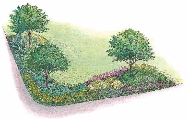 Eplans Landscape Plan - Corner Property Planting Landscape from Eplans - House Plan Code HWEPL11477