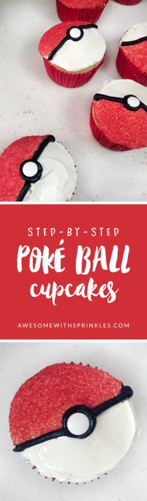 Cupcakes, I choose YOU! Pokémon Go has taken the world by storm! Lure out those Jigglypuffs and Squirtles with these tasty Poké Ball cupcakes!