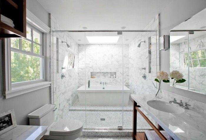 jolie salle de bain blanche, carrelage marbre leroy merlin