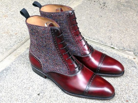 261821f7d92 Handmade Men's Burgundy Gray Tweed Leather boot, lace up Cap Toe ...