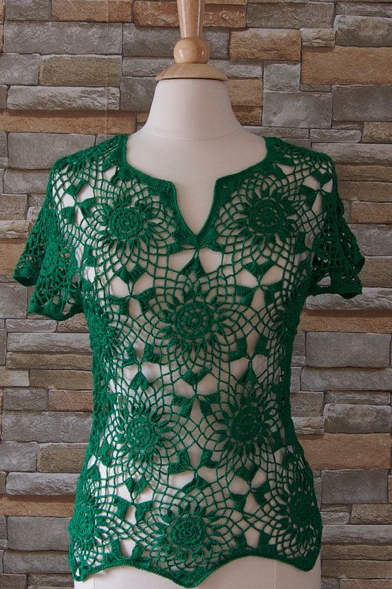 Crocheted cotton green top/blouse for summer by IngasHandKnits