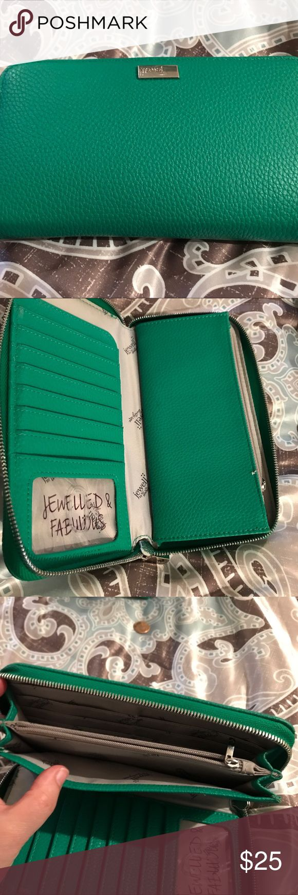 """Thirty One green All about the Benjamin's wallet Gently used beautiful green wallet by Thirty one Jewell collection; lots of card and checkbook slots; matching purse also available on seperate post """"thirty one Paris"""" thirty one Bags Wallets"""