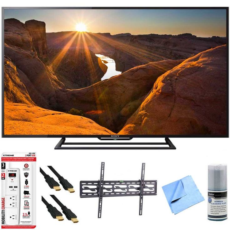 Sony KDL-48R510C - 48-Inch Full HD 1080p 60Hz Smart LED TV Tilt Mount Hook-Up Bundle - Includes TV, Tilting TV Wall Mount, 3 Outlet Surge Protector with USB Ports, 2 x High-Speed HDMI Cable with Ethernet 6ft, Performance TV/LCD Screen Cleaning Kit, & More