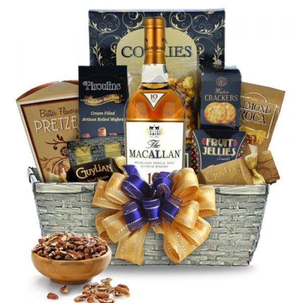 Macallan Scotch Gift Basket; Even if the whiskey enthusiast on your list is a bit picky, or even snobbish, you are sure to please with the Macallan Scotch gift basket | spiritedgifts.com