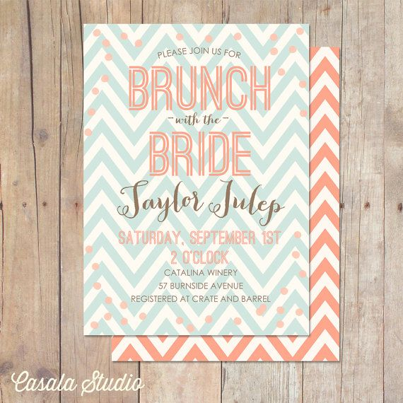 Rustic Chic Mint and Peach Chevron Bridal Brunch by casalastudio, $16.00