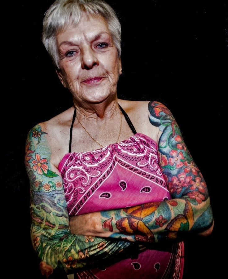Elderly Woman With Tattoos
