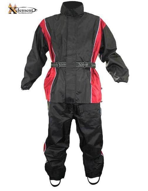 Xelement RN4766 Men's 2 Piece Black Red Nylon Motorcycle Rain Suit Boot straps #Xelement #Motorcycle
