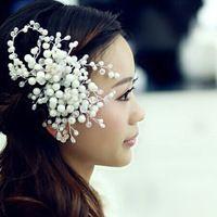 Свадебные аксессуары для волос свадьба волосы жемчуг гребень горный хрусталь кристалл цветок волосы гребень невесты ювелирных изделий