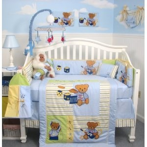 SoHo Rock N Roll Teddy Bear Crib Nursery Bedding Set 13 ...