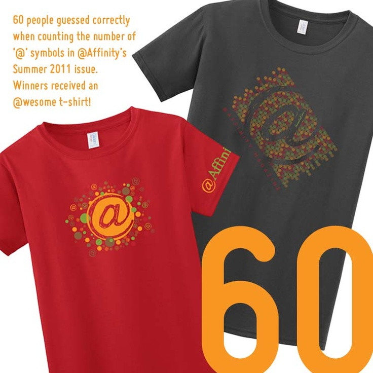 and the number is... 60!Jenny Harkness, Affinity Issues, Creative Genius, T Shirts Design, Fall Affinity