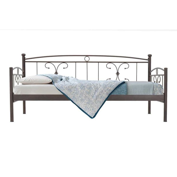 Κρεβάτι καναπές Sergio μεταλλικός 90x190 καφέ σαγρέ