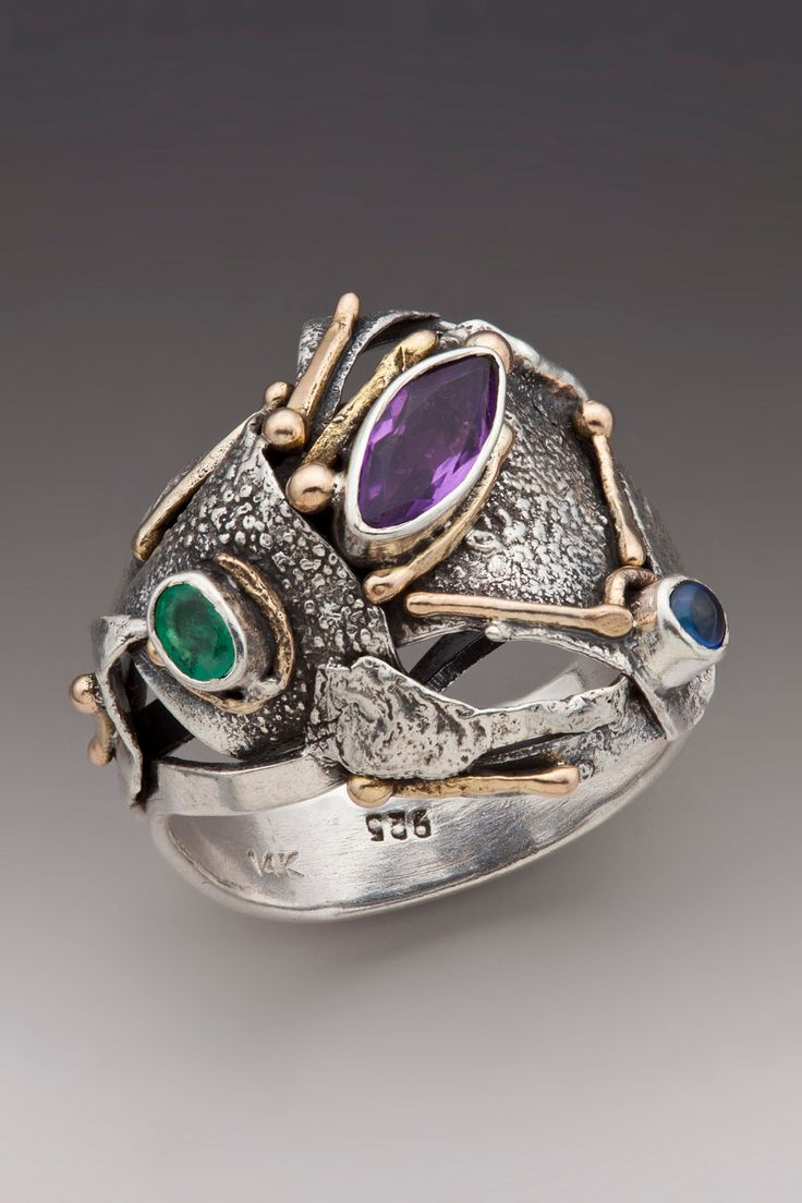 Silver and Gold Ring with Sapphire, Emerald and Amethyst--Reserved for Megan. via Etsy.
