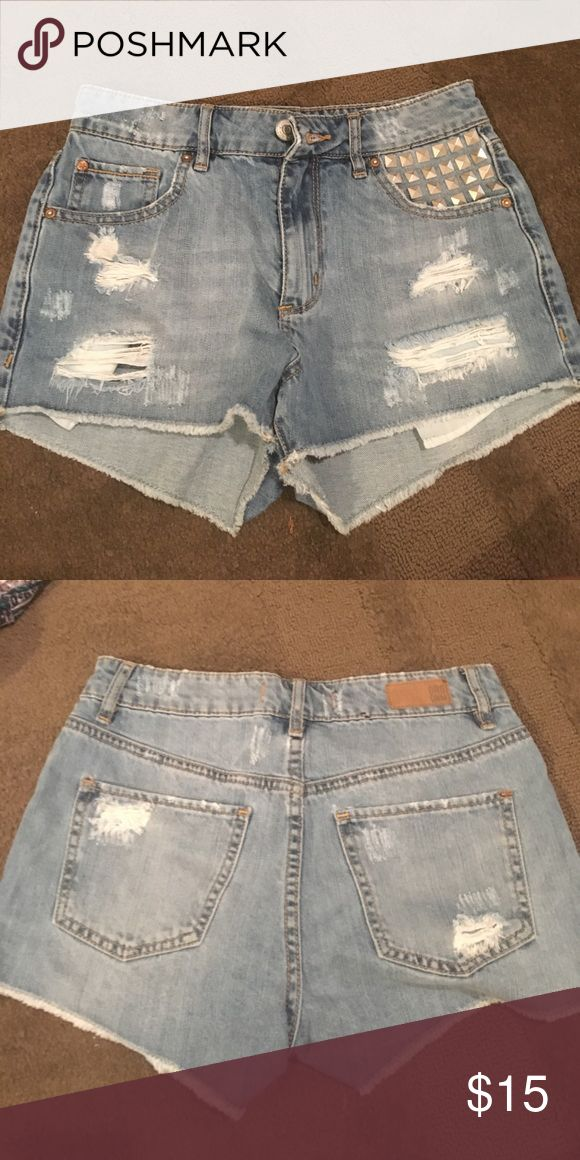 Distressed studded jean shorts size small Good condition Forever 21 Shorts Jean Shorts