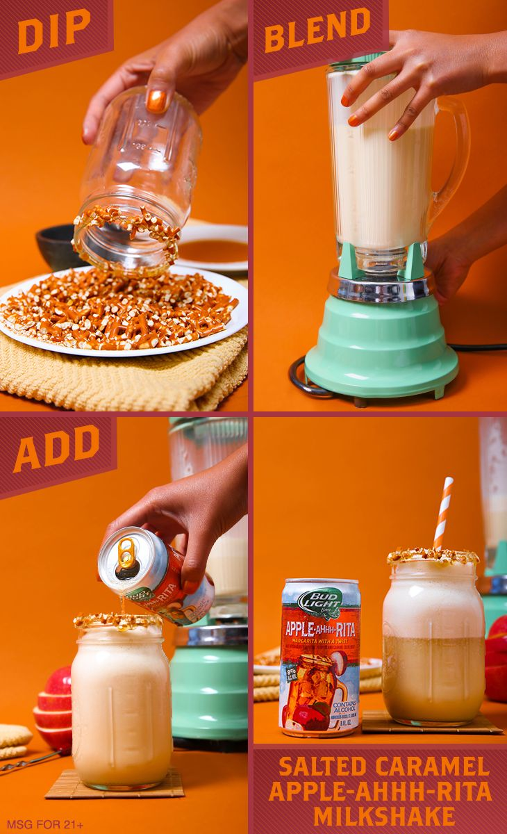 This salty and sweet milkshake recipe will get your tastebuds going. 1) Dip the glass rim into thin layer of caramel sauce and then into crushed pretzels. 2) Blend ice cream, milk, caramel sauce, and salt. 3) Pour into glass. 4) Add Apple-Ahhh-Rita. 5) Stir