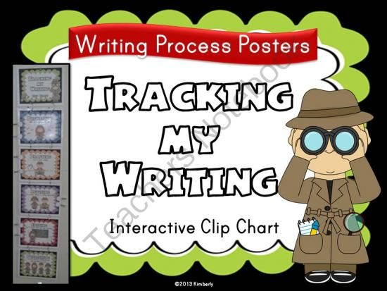 """""""Tracking My Writing"""" Clip Chart (Detective Theme Writing Process Resource Posters) from By Kimberly on TeachersNotebook.com -  - """"Tracking My Writing"""" Clip Chart (Detective Theme Writing Process Posters)  Students and teachers will use this cute detective theme tracking chart to keep track of where everyone is in the writing process. Each resource poster has a brief description of"""
