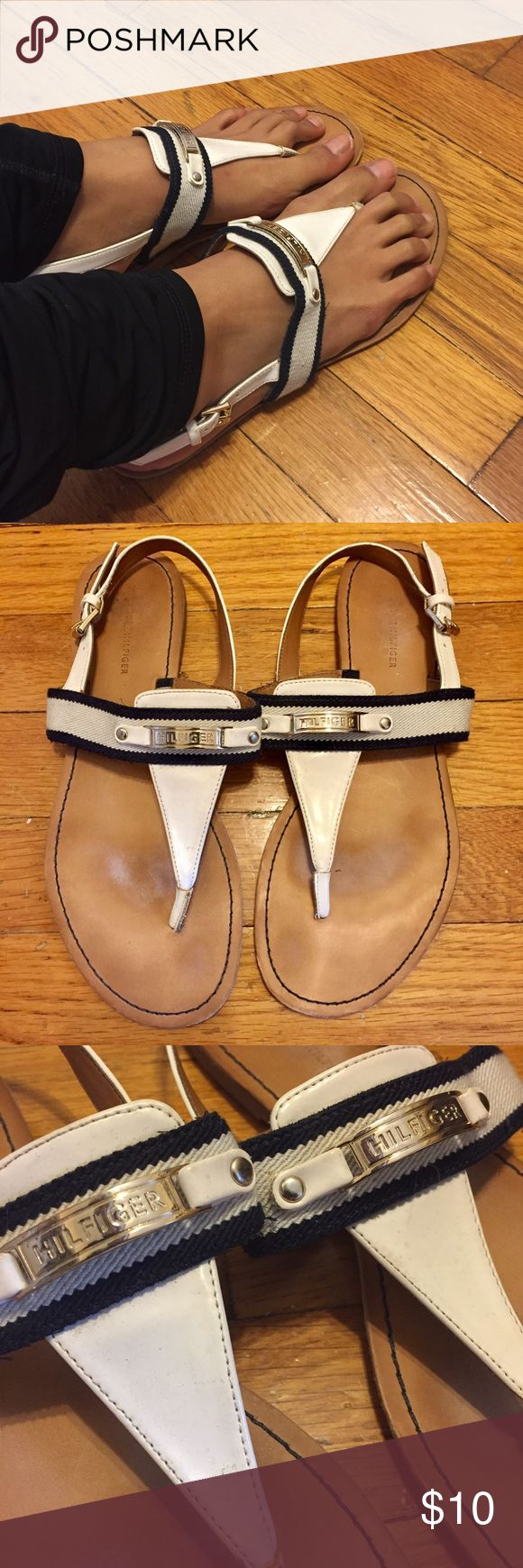 Tommy Hilfiger Nautical Sandals Navy and white nautical sandals. Adjustable straps. Some signs of wear (see photos) but still in great condition. Bundle to save more! Tommy Hilfiger Shoes Sandals