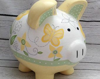 Personalized Piggy Bank Artisan hand painted ceramic piggy