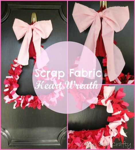 Scrap Fabric Heart Wreath valentinesday love heart
