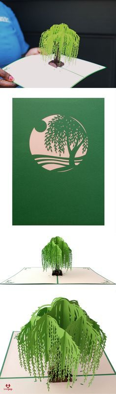 Gift a beautiful willow tree inside a unique pop up card. Perfect for any occasion, this paper art will stand out from the rest. #spreadthelove