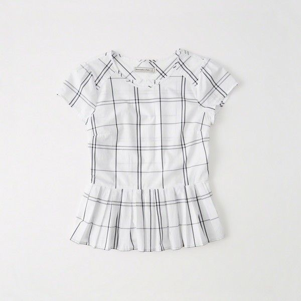 Abercrombie & Fitch Peplum Top ($19) ❤ liked on Polyvore featuring tops, white pattern, print top, patterned peplum top, white peplum top, print peplum top and peplum tops