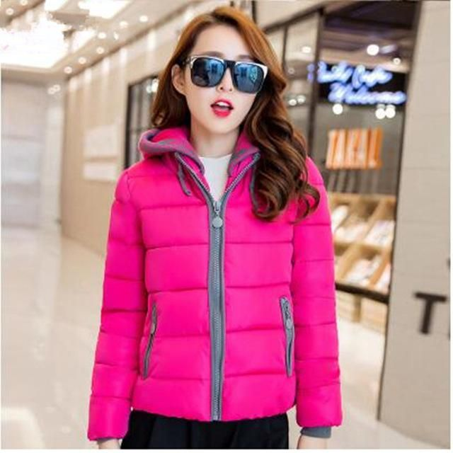 NEW Fashion Women Winter Cotton Jacket Plus Size Thicken Super Warm Coats Hooded Jacket Splicing Slim padded Coat Parka FC2456 r