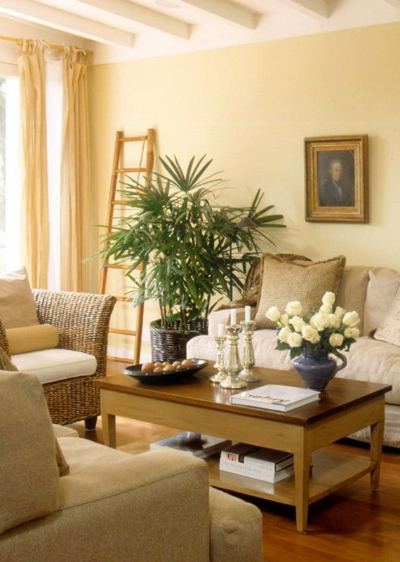 pale yellow paint modern living room design