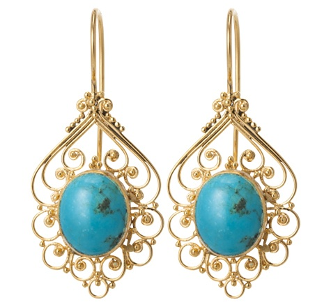 Turquoise Filligree Earrings Gold