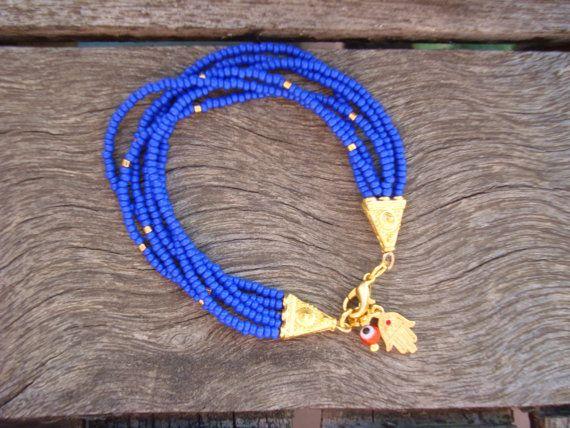 Blue Evil Eye Beaded  Hamsa Bracelet