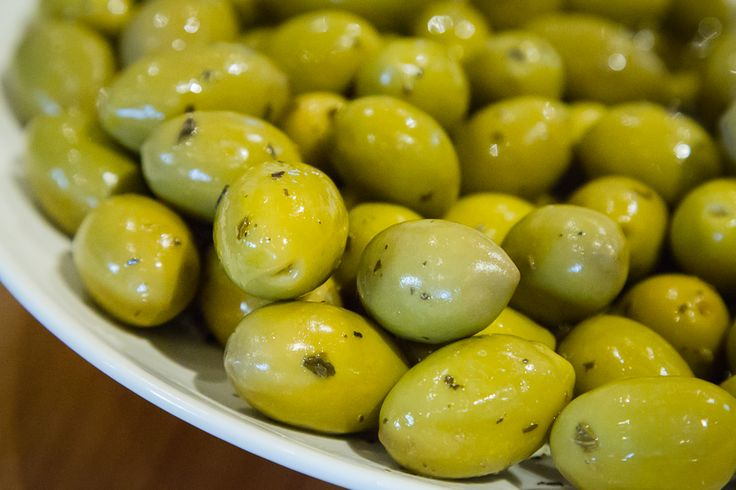 Crunchy, fresh, juicy olives marinated with herbs and spices... YUM!