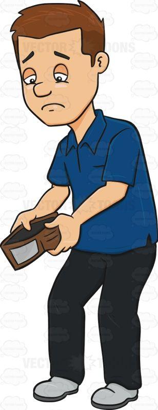 Distressed Man Holding An Empty Wallet Cartoon Clipart ...