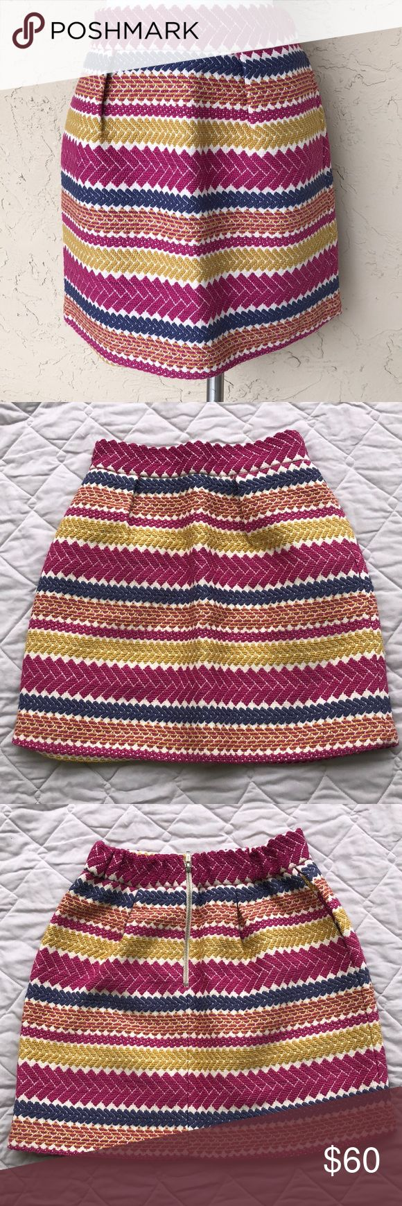 """Gorgeous skirt nomad Morgan Carper Anthropologie Jacquard skirt ... size medium  Excellent condition from smoke-free home. Stripe design in magenta, golden yellow and deep lavender. Fully lined. Zipper at the back. Made in the USA  100% cotton (polyester lining) Measures approximately 14"""" across waistband Anthropologie Skirts"""