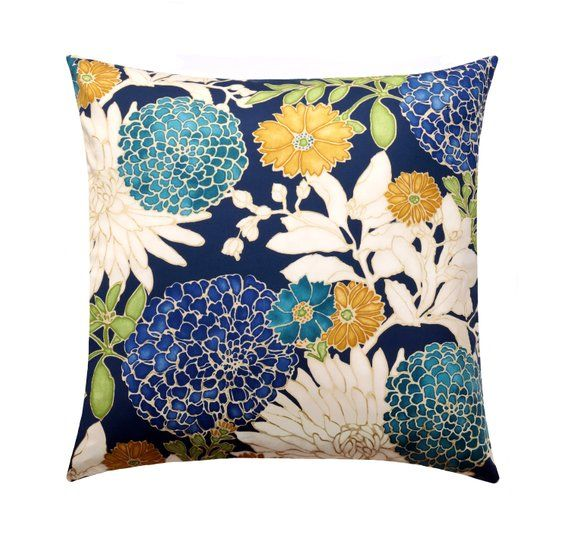 12x18 floral pillow cover teal gold