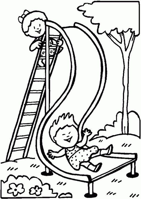 People and places coloring pages: Playground slide ...