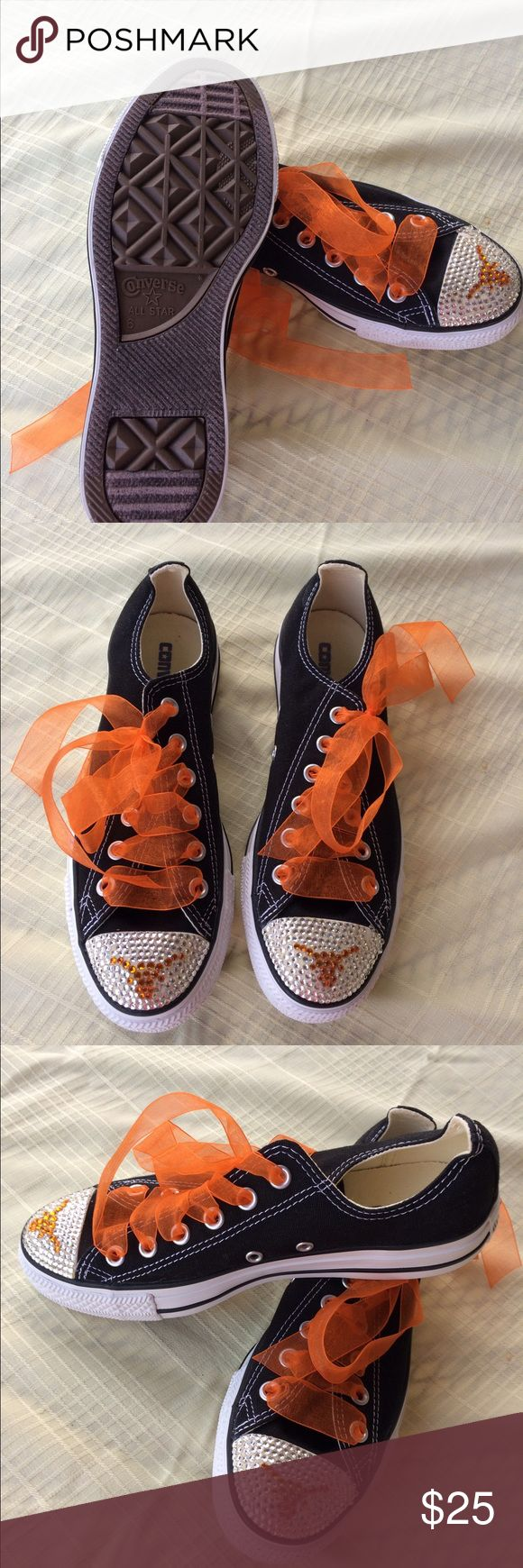 Decorated Converse tennis shoes Decorated with the longhorn logo and bedazzled along with orange shoe strings to match Converse Shoes Sneakers