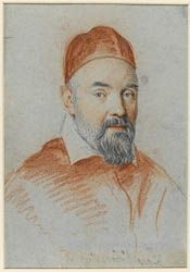 Ottavio Leoni (Il Padovano)(Rome, 1578-1630) ~ Pope Urban VIII ~ Red and black chalk heightened with white on blue paper ~ ca.1625 ~ Maffeo Barberini (1568-1644) was born in Florence and was called to Rome at age 16 by his uncle Francesco, was created cardinal-priest in 1606 and elected pope as Urban VIII in 1623. This drawing lacks Leoni's usual inscription of date and number.