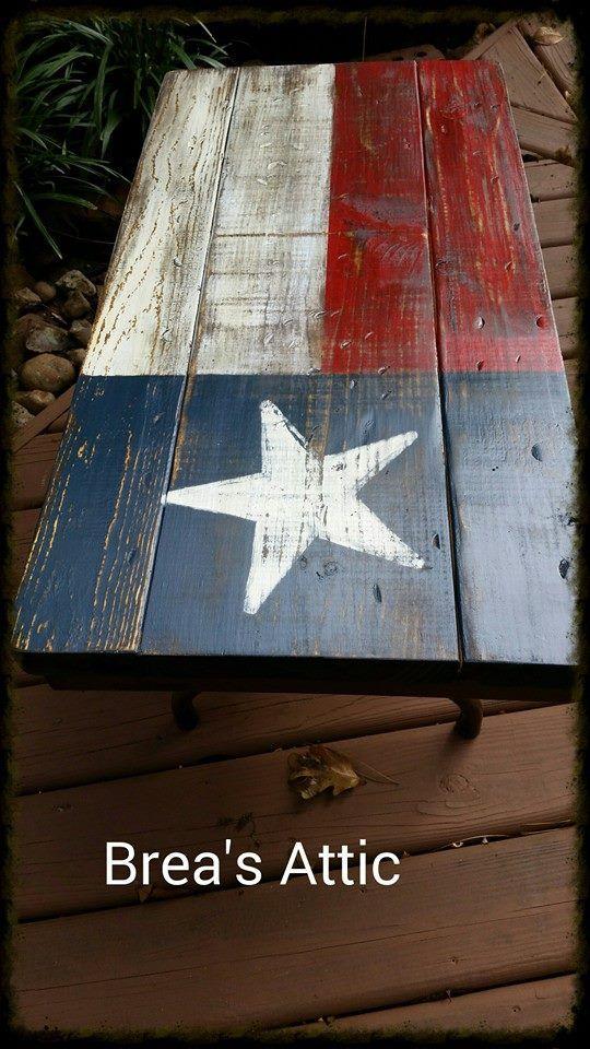 Texas Flag Coffee Table On A Vintage Folding Table Brea